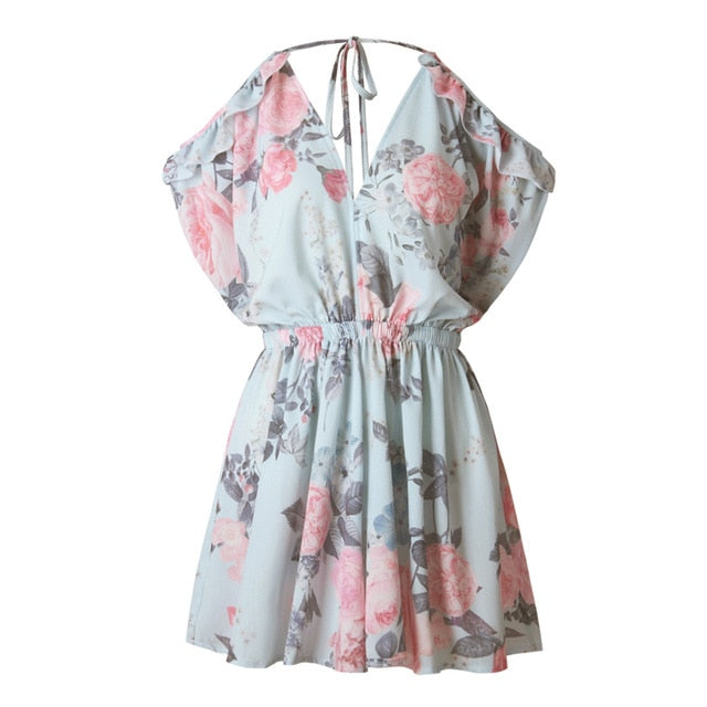 FATIKA Women Flower Print Pleated Playsuits Summer 2017 Jumpsuit Sexy Off Shoulder Playsuit Ruffled V Neck Playsuit Woman-cigauy