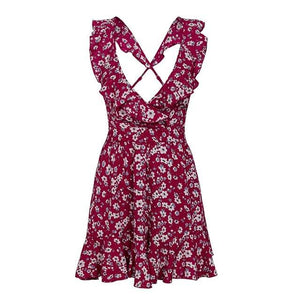 Simplee V neck back cross tie up floral print jumpsuit women High waist backless elastic jumpsuit romper Casual summer rompers-cigauy