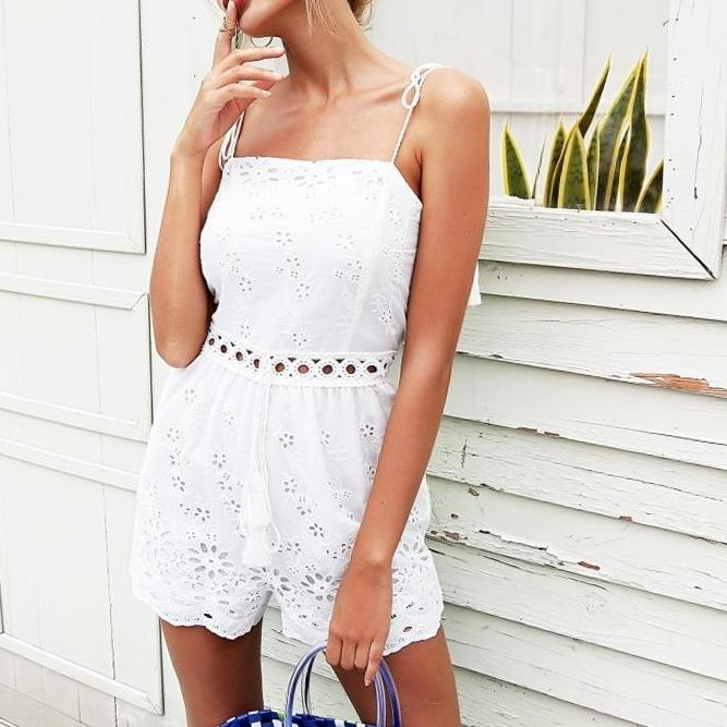 Simplee Strap cotton embroidery white rompers Womens jumpsuit tassel crochet sexy playsuit Summer high waist macacao feminino-cigauy