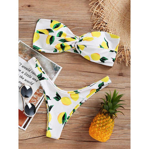 Lemon Print Twist Bandeau Bikini Set Strapless High Leg Bikini Swimwear Women Thong Bikini Push Up Bathing Suit Swimsuit-cigauy