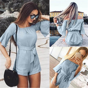 Jumpsuits for Women 2018 Women Summer Off Shoulder Casual Romper Sexy Streetwear Shorts Rompers Womens Jumpsuit-cigauy
