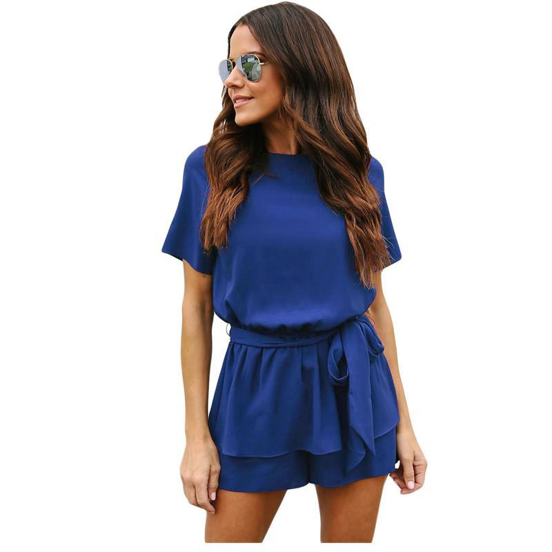 Dear Lover Casual Playsuit Summer Navy Half Sleeves Peplum Waist Romper Women Jumpsuits Boho Short Overalls Macacao 2018 LC64383-cigauy