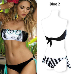 Bikini Sexy Bikini Set Women Halter Swimwear Women Swimsuit Swimming Suit GOODBYE TO ROMANCE Low Waist Female Bandeau Striped-cigauy