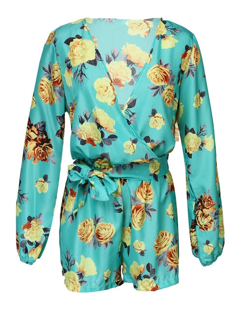 New Fashion Women Floral Printing Jumpsuits Ladies V Neck Long Sleeve Clubwear Playsuit Summer Casual Jumpsuit Romper-cigauy