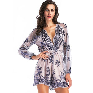 Sequin Playsuit Women Loose Sheer Overall Shorts Casual Women Playsuit Rompers-cigauy