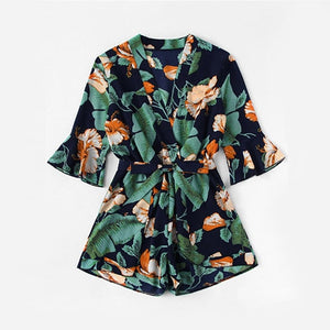 ROMWE Fluted Sleeve Floral Print Surplice Romper With Belt Women 2018 Summer Vocation Three Quarter Floral V neck Romper-cigauy