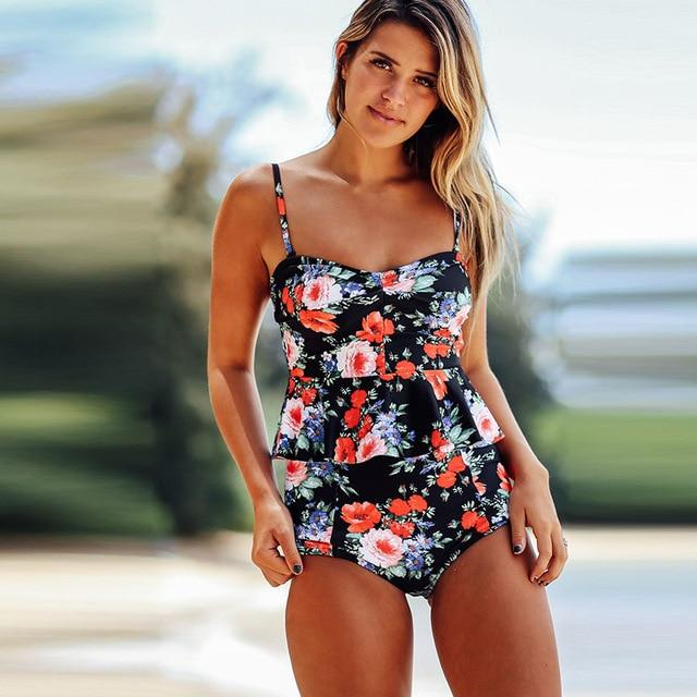Bikinis Women 2017 High Waist Swimsuit Bodysuits Swimwear Ruffle Print Bathing Suits Beach Wear Two Piece Tankini Set Floral-cigauy