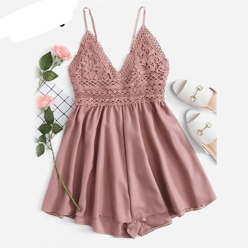 ROMWE Contrast Lace Knot Back Cami Romper Women Pink V Neck Straps Sleeveless Playsuit 2018 Summer Casual Wide Leg Romper-cigauy