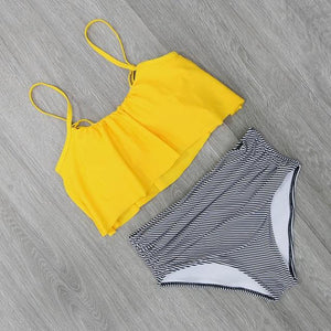 2018 Bikinis Women Swimwear High Waist Swimsuit Halter Sexy Bikini Set Retro Bathing Suits Plus Size Swimwear XXL-cigauy