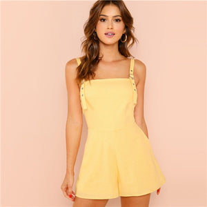 SHEIN Yellow Weekend Casual Pocket Patched Straps Sleeveless Solid Mid Waist Romper Summer Women Going Out Jumpsuit-cigauy