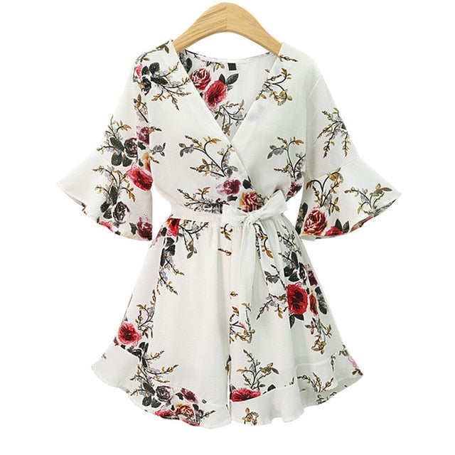 2018 Black Short Rompers Printing Flower V Neck Jumpsuit plus size 5XL Tie Waist Casual Summer Sexy Deep Women Jumpsuits S7N702A-cigauy