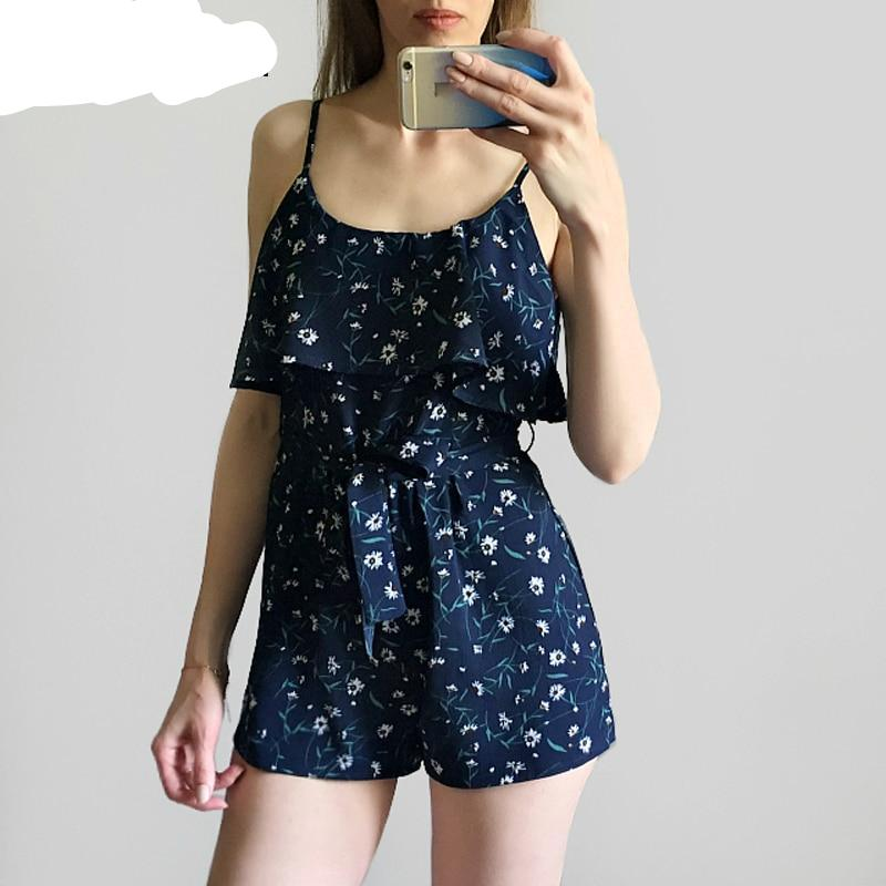 skitzyou 2018 Summer Boho Holiday Floral Print Women Casual Rompers Sexy Sleeveless Overalls Beach Wear Playsuit Short Jumpsuits-cigauy
