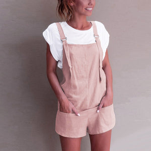 Casual Linen Cotton Jumpsuits Female Strapless Pockets Short Wide Leg Trouser Womens Summer Fashion Beach Cami Clothing 2018-cigauy