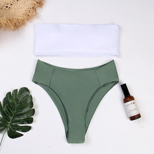 Belleziva Ribbed Bandeau Bikini Set High Cut Sexy Brazilian Bikini Swimwear Female Bathing Suit Women Sexy Swimsuit Biquinis-cigauy