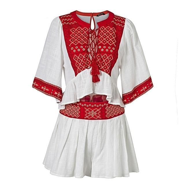 Simplee Boho embroidery two-piece romper women jumpsuit Ethnic tassel lace up white playsuit 2018 Summer beach jumpsuit macacao-cigauy
