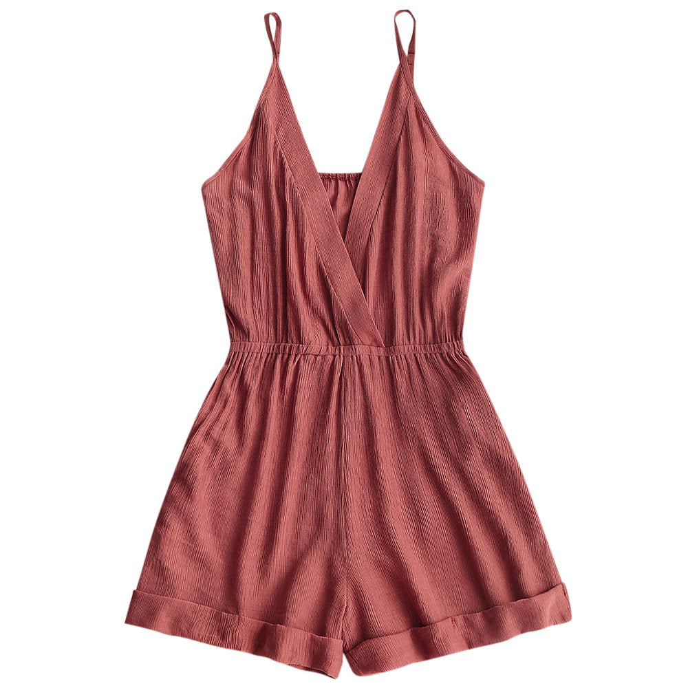 Sexy Summer Women Rompers Cotton Blends Cross Front Elastic Waist Jumpsuits Adjustable Straps Playsuits Feminino Overalls-cigauy