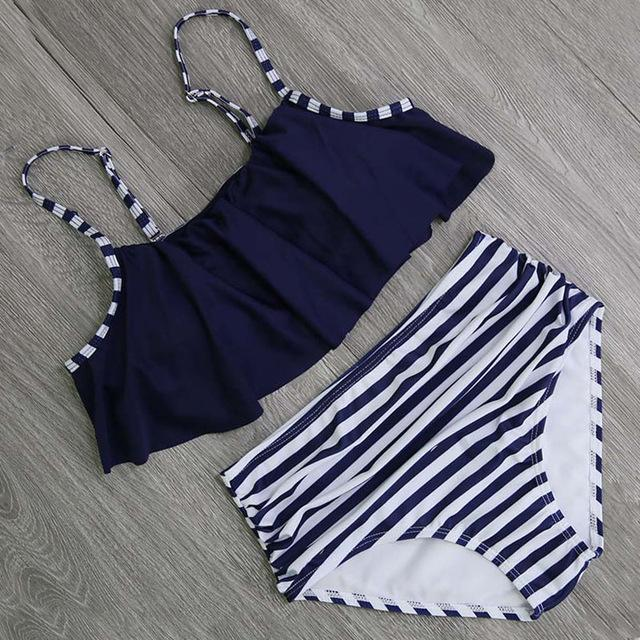 2018 Sexy Ruffle Bikini Off Shoulder Bikinis Women Swimwear Push Up Biquini High Waist Swimsuit Plus Size Bathing Suit Beachwear-cigauy