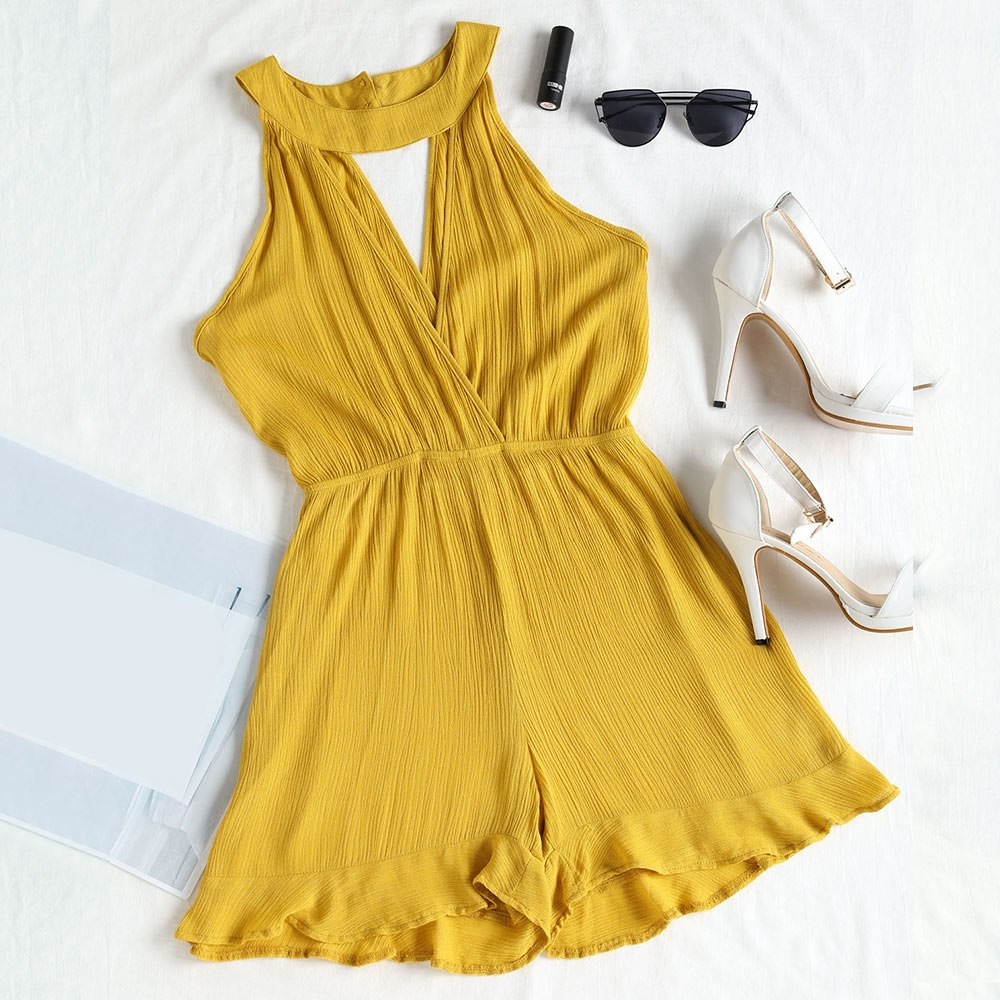Summer Sexy Choker Ruffles Cute Romper Pearl Elastic Waist Plunge V Feminino One peices Overalls Women Casual Playsuits-cigauy