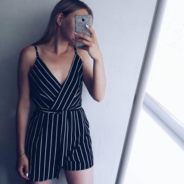 Wipalo OL Style Slim Romper Women Jumpsuits Casual Vertical Striped Summer Playsuit Sexy V Neck Belted Romper overalls Bodysuit-cigauy