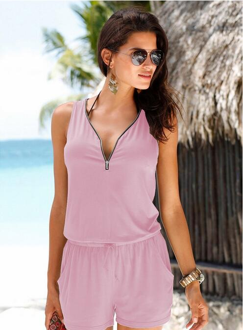 2018 summer new Womens fashion Holiday Casual Zipper V-neck Women's overalls Jumpsuit Summer Beach shorts NEW-cigauy