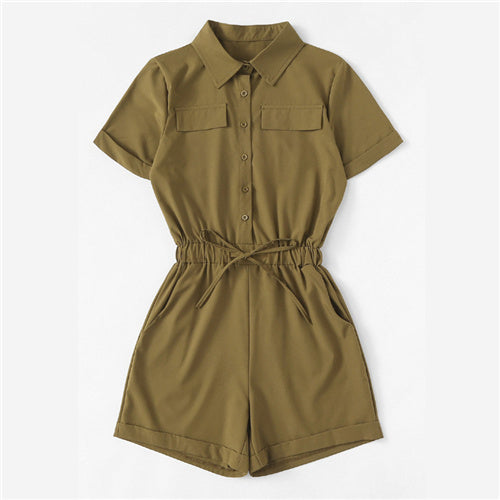 ROMWE Single Breasted Collar Pocket Knot Army Green Playsuit Summer Women Casual Collar Roll Up Sleeve Mid Waist Plain Romper-cigauy