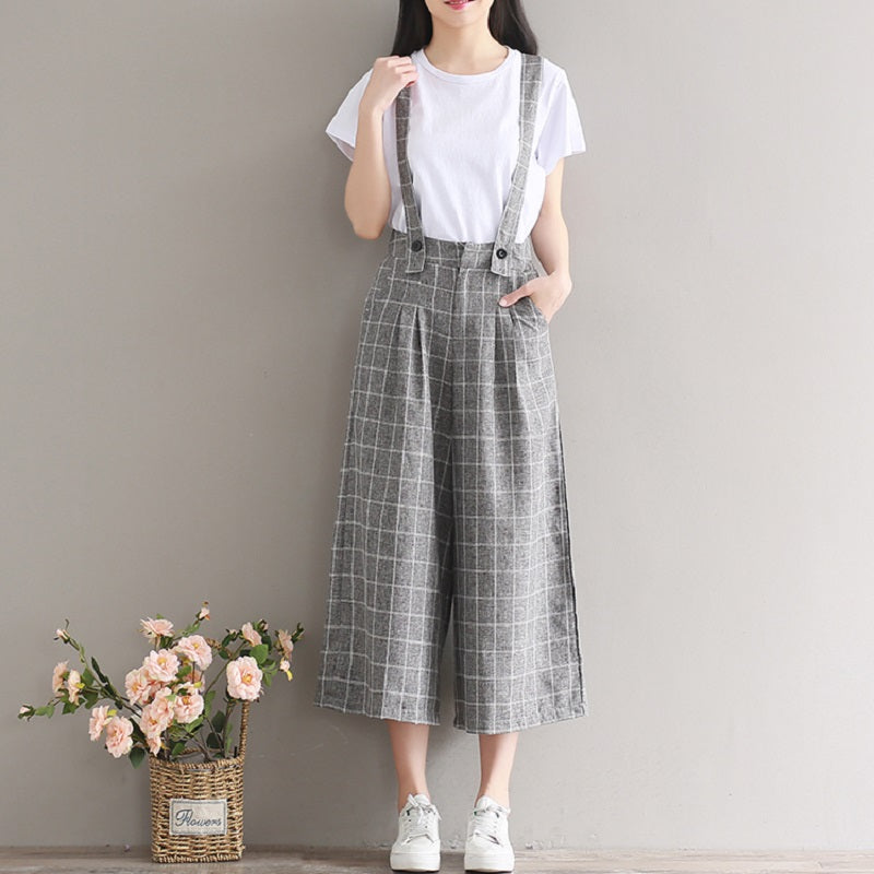 Summer Autumn Women Mori Girl Overalls Casual Vintage Sleeveless Backless Gray Plaid Rompers Cotton Elegant Lady Jumpsuits S M L-cigauy