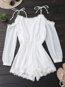 Kenancy Women Tie Shoulder Lace Trim Rompers Long Sleeves Cut Out Tunic Playsuits Summer Spring Jumpsuits Female Overalls-cigauy