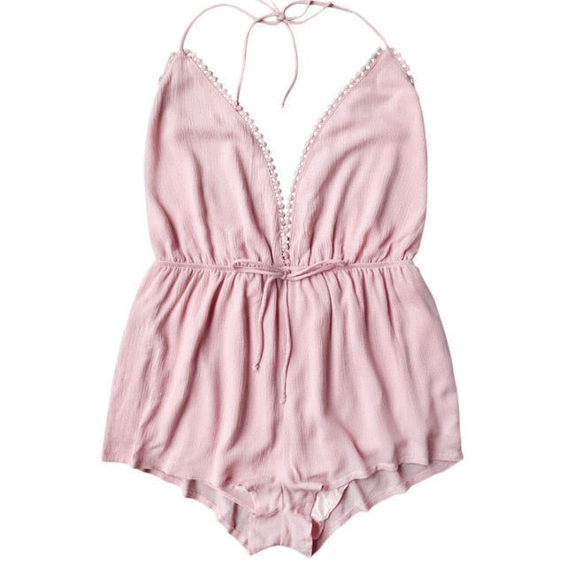 Kenancy Women Halter Open Back Romper Deep V-Ncek Bowknot Playsuits Summer Beach Jumpsuits Female Overalls 2018 New Arrival-cigauy