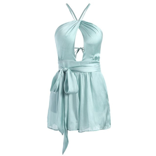 Kenancy Women Cut Out Romper Open Back Criss Cross Belted Playsuits Bowknot Spaghetti Strap Summer Overalls Solid Jumpsuits-cigauy