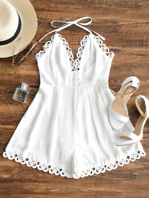 Kenancy Women Backless Lacework Halter Rompers V-Neck Bowknot Summer Playsuits Solid Overalls Female Jumpsuits New Arrival-cigauy