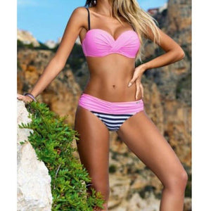 2018 2 Pcs/Set Candy Colors Swimming Sexy Women Bikini Set Push Up Bra Swimwear Bathing Stripe Swimsuit Bikini Set 7 Colors-cigauy