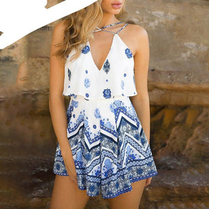 Lily Rosie Girl Sexy V Neck Summer Playsuit Print Floral Boho Beach Playsuit Spaghtti Strap Short Jumpsuit Rompers Vestidos-cigauy