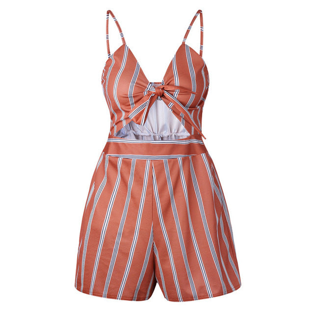 Summer Women Rompers Jumpsuit Playsuit Sexy Bandage Hallow Out Striped Lemon Floral Print Bodysuit Clubwear-cigauy