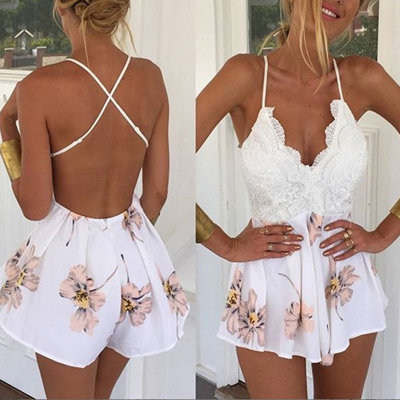 CALOFE Women's 2018 Summer Sexy Patchwork Jumpsuit Ladies Clubwear Lace V-Neck Strap Playsuit Loose Floral Party Romper Overall-cigauy