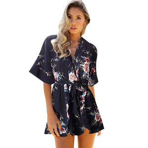 ELSVIOS 2017 Women Rompers Sexy V Neck Spaghetti Strap Backless Loose Printing Jumpsuits Casual Summer Beach Playsuits Overalls-cigauy