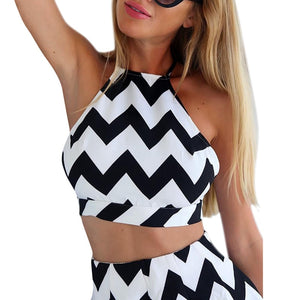 2018 Sleeveless Black White Stripe Halter Backless Bow Jumpsuits Casual Sexy Two Pieces Playsuits For Women Summer Rompers-cigauy