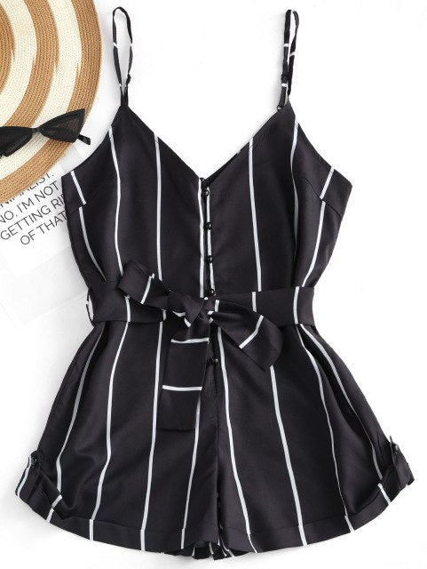 Kenancy Women Bodysuit Summer Stripe Belted Spaghetti Strap Women Romper V Neck Halter Adjustable Strap Sleeveless Jumpsuit-cigauy