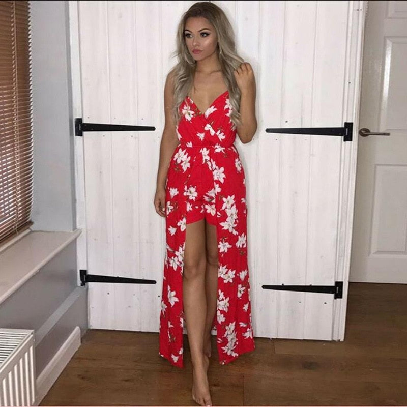 Summer 2018 Fashion Sleeveless Sexy Jumpsuit Women V-Neck Casual Loose Print Playsuits Women Fashion Elegant Boho Skirt Pants-cigauy