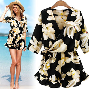 Floral Playsuit Summer Rompers Womens Jumpsuits 2018 Boho Half Sleeve Jumpsuit Plus Size 4XL 5XL One Piece Overalls for Women-cigauy