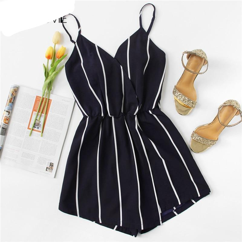 COLROVIE Wrap Casual Vertical Striped Romper 2018 Summer V Neck Playsuit Mid Waist Women Rompers Strap Beach Short Jumpsuit-cigauy