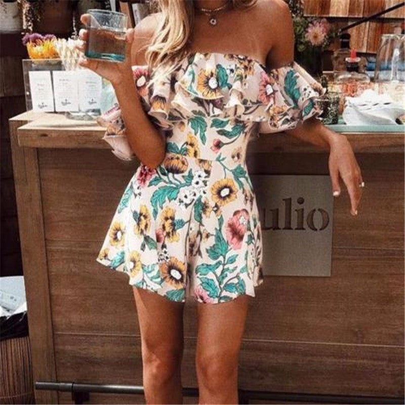 Boho Floral Print Ruffles Playsuits Women Elegant Autumn White Off Shoulder Jumpsuits Rompers Sexy Beach Girl Short Overalls-cigauy