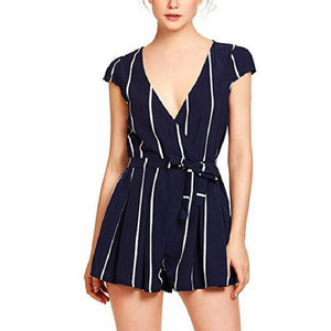 Casual Vertical Striped jumpsuits for women 2018 rompers womens jumpsuit bow knot lace up playsuit S8704 dropship-cigauy