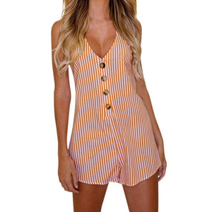 Ladies Summer Beach Playsuit Jumpsuit Womens Holiday Button Striped Mini bodysuit body feminino romper combinaison femme overall-cigauy