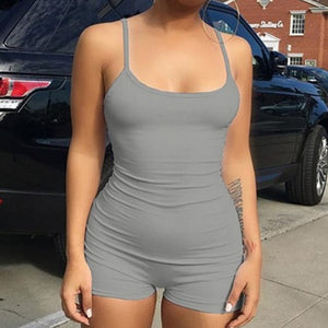 2018 Women Rompers Playsuits Sleeveless Backless Summer Fitness Bodycon Skinny Spaghetti Strap Sexy Jumpsuits bodysuit shorts-cigauy