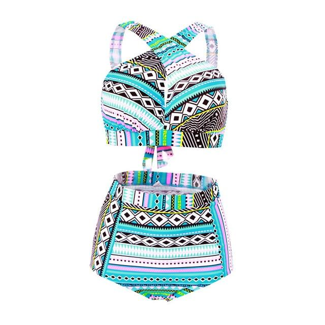 HYCOOL Swimwear Women Female Swimsuit Bikinis High Waist Bathing Suits Print Retro Floral Bikini Set Swim Wear Plus Size XXL-cigauy