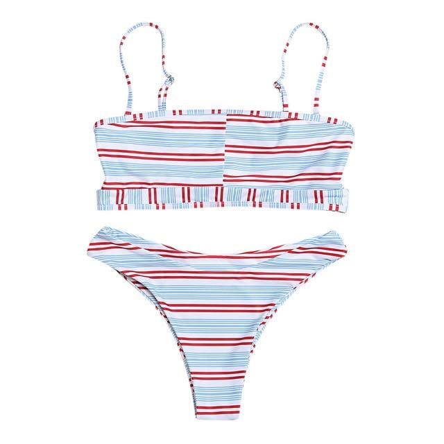 Belleziva New Sexy Spaghetti Strap Backless Cut Out Women Bikini Set Push Up Plaid Swimsuit Swimwear Female Bathing Suit Biquini-cigauy