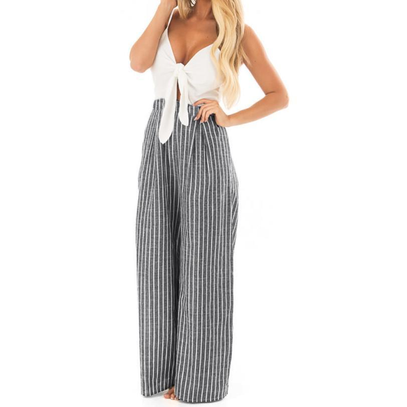 2018 Summer hot sale Women Bowknot Sleeveless Striped Print Jumpsuit Casual Clubwear Wide Leg Pants NEW Mar 26-cigauy