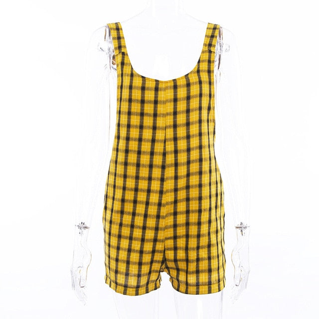 InstaHot Yellow Plaid Pockets Backless Playsuits Women 2018 Summer Fashion Shorts Overalls Rompers Loose Casual Popular Clothing-cigauy