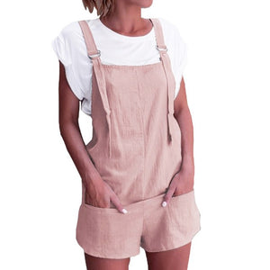 Feitong Summer 2018 Women Playsuits Elastic Waist Dungarees Linen Cotton Pockets Rompers Playsuit Shorts Pants-cigauy