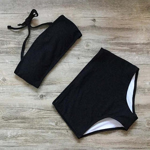 Women Bandeau Bikini Set High Waist Bathing Suit Solid Sexy Brazilian Biquini Two Pieces Swimsuit Thread Texture Female Swimwear-cigauy